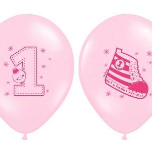 """1 gimtadienis rozine Rožinis balionas """"Pirmasis gimtadienis"""""""