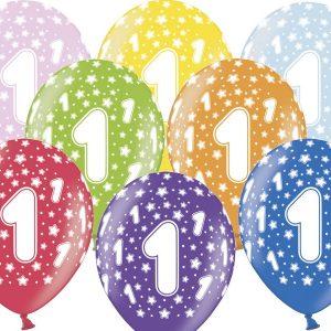 1 gimtadienis spalvotas 1-10 spalvoti balionai