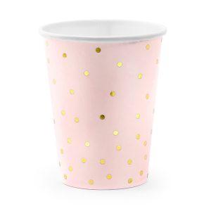 Puodelis rozinis taskeliai 1 Rožiniai puodeliai su taškeliais