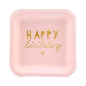 lekstute rozine happy Rožinės gimtadienio lėkštutės