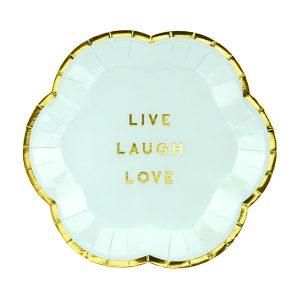 "lekstutes zydra auksine 1 Lėkštutės ""Live Laugh Love"""