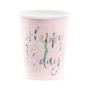 """puodelis rozinis gimtadienis 1 Rožiniai puodeliai """"Happy B'day"""""""