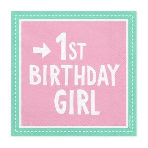 "serveteles 1 girl Servetėlės mergaitei ""1-asis gimtadienis"""