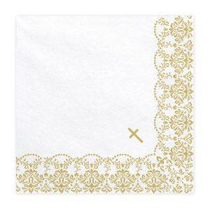 serveteles balta auksine krikstas 1 Baltos servetėlės su auksiniu kryželiu