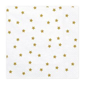 serveteles balta auksine zvaigzdes 1 Baltos servetėlės auksinėmis žvaigždėmis