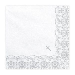 serveteles balta sidabrine krikstas 1 Baltos servetėlės su sidabriniu kryželiu