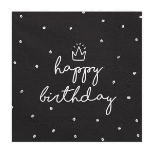 """serveteles juoda gimtadienis 1 Juodos servetėlės """"Happy Birthday"""""""