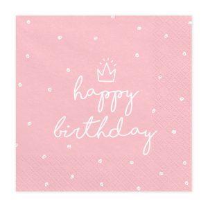 """serveteles rozine gimtadienis Rožinės servetėlės """"Happy Birthday"""""""