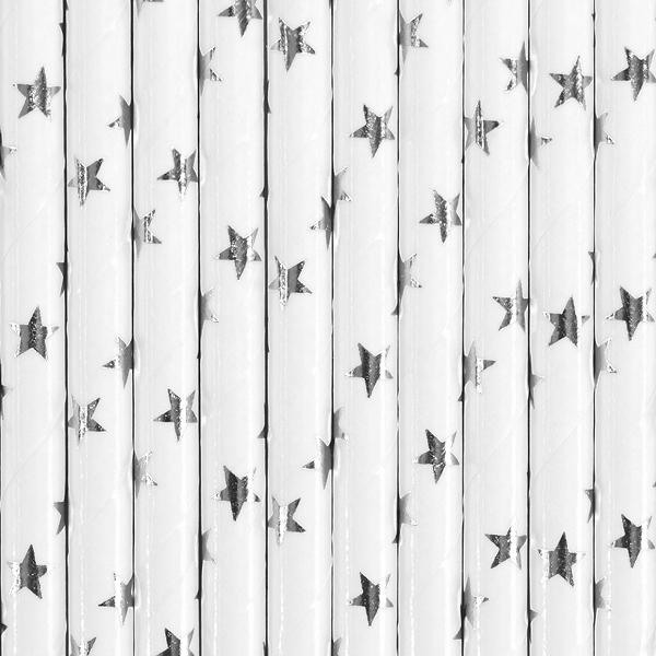 siaudeliai balta zvaigzdutes sidabrines 1 Balti šiaudeliai su sidabro žvaigždutėmis