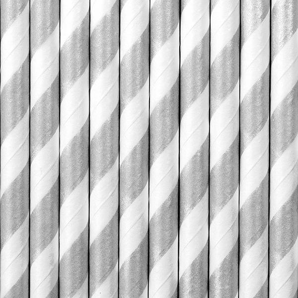 siaudeliai pilka balta Dryžuoti matinio sidabro šiaudeliai