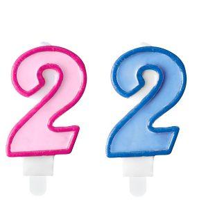 """zvakute dviguba 2 Žvakutė skaičius """"2"""""""