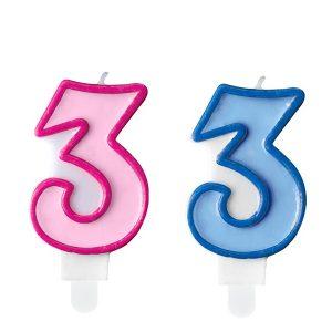 """zvakute dviguba 3 Žvakutė skaičius """"3"""""""