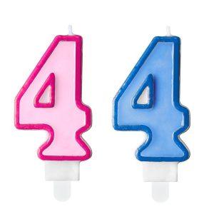 """zvakute dviguba 4 Žvakutė skaičius """"4"""""""
