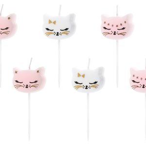 """zvakutes balta rozine katyte 1 Gimtadienio žvakutės """"Katytė"""""""
