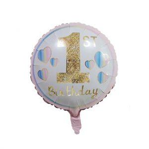 1 gimtadienis rozinis 1-ojo gimtadienio folinis balionas - Rožinė, Nepripūstas