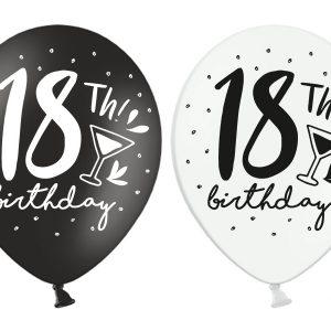 18 gimtadiensis juoda balta 18-ojo gimtadienio balionas