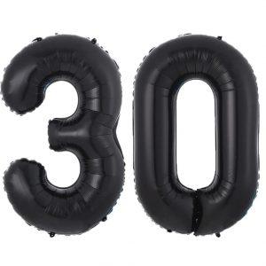 """30 juodas Balionai juodi skaičiai """"30"""""""