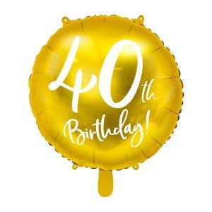 """balionas auksinis apvalus 40 gimtadienis 1 Folinis balionas """"40"""""""