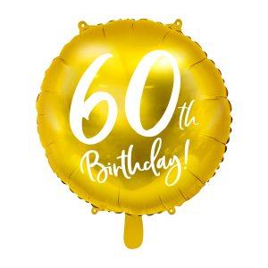 """balionas auksinis apvalus 60 gimtadienis 1 Folinis balionas """"60"""""""