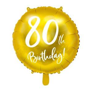 """balionas auksinis apvalus 80 gimtadienis 1 Folinis balionas """"80"""""""