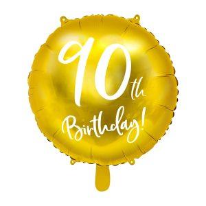 """balionas auksinis apvalus 90 gimtadienis 1 Folinis balionas """"90"""""""