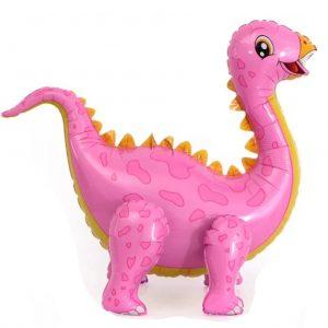 dinozauras rozinis Pastatomas folinis balionas rožinis dinozauras