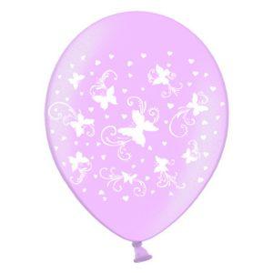 drugeliai rozine Rožinis perlamutrinis balionas su drugeliais