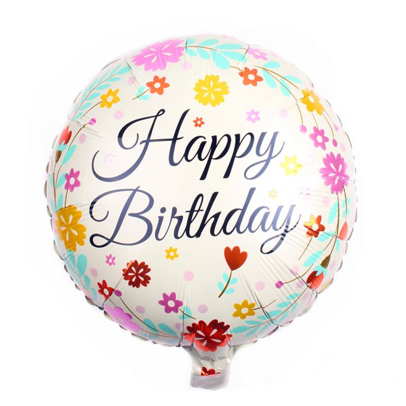 happy birthday geles Folinis balionas gimtadieniui su gėlytėmis