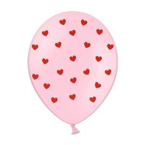 sirdeles rozine 1 Rožinis balionas su raudonomis širdelėmis