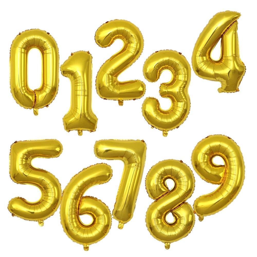 skaiciai auksiniai Folinis auksinis balionas skaičius 0-9
