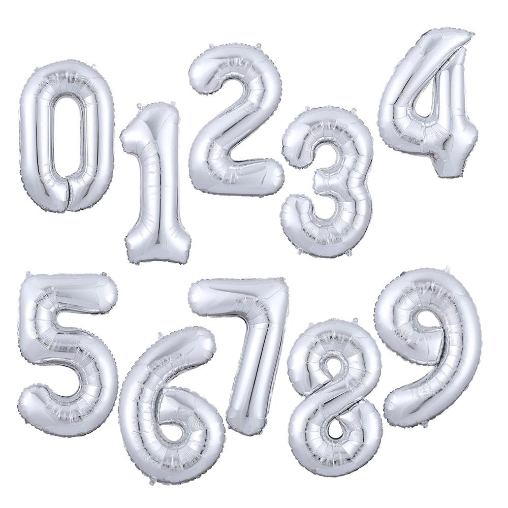 skaiciai sidabriniai Folinis sidabrinis balionas skaičius 0-9 (pripildytas helio dujomis)