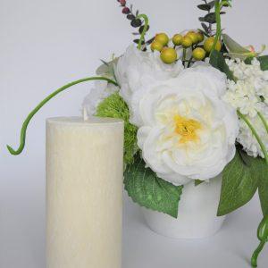 """sviesi zvake 1 scaled Rankų darbo didelė žvakė """"Pina Colada"""" (balta)"""
