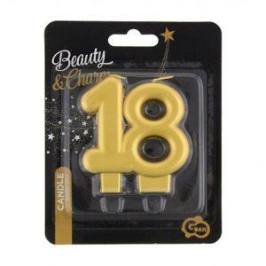 """auksine 18 Aukso spalvos žvakutė """"18"""""""