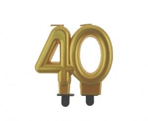 """auksine 40 Aukso spalvos žvakutė """"40"""""""