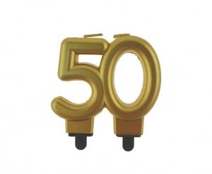 """auksine 50 Aukso spalvos žvakutė """"50"""""""