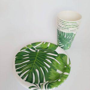 lapeliai rinkinys scaled Lėkštučių ir puodelių rinkinys su žaliais lapeliais