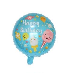 ledai happy Folinis gimtadienio balionas su skanėstų paveiksliukais