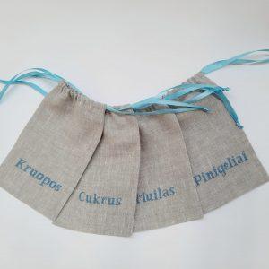 pilkas su zydru scaled Lininiai rankų darbo krikštynų maišeliai melsvu užrašu