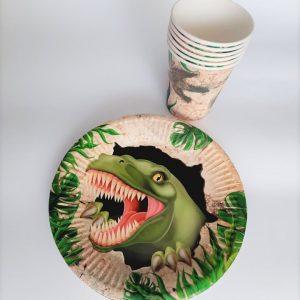 """dinozauru rinkinys Vienkartinių indų rinkinys """"Dinozauras"""""""