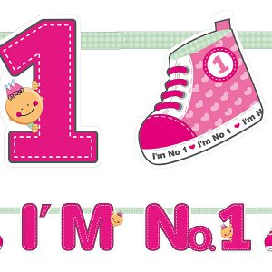 1 gimtadienis rozinis girlianda 1-ojo gimtadienio rožinė dekoracija