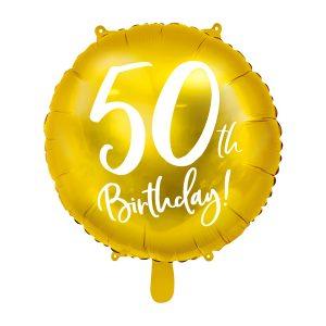 """balionas auksinis apvalus 50 gimtadienis 1 Folinis balionas """"50"""""""