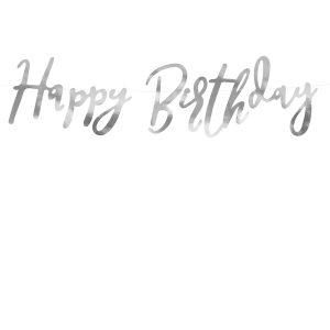 """happy birthday girlianda sidabras 1 Užrašas """"Happy Birthday"""""""