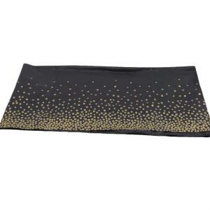 juoda su taskeliais 1 Plastikinė staltiesė su aukso taškeliais - Juoda