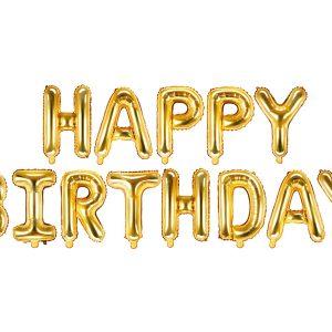 """uzrasas happy birthday auksiniai 1 Folinių balionų užrašas """"HAPPY BIRTHDAY"""""""