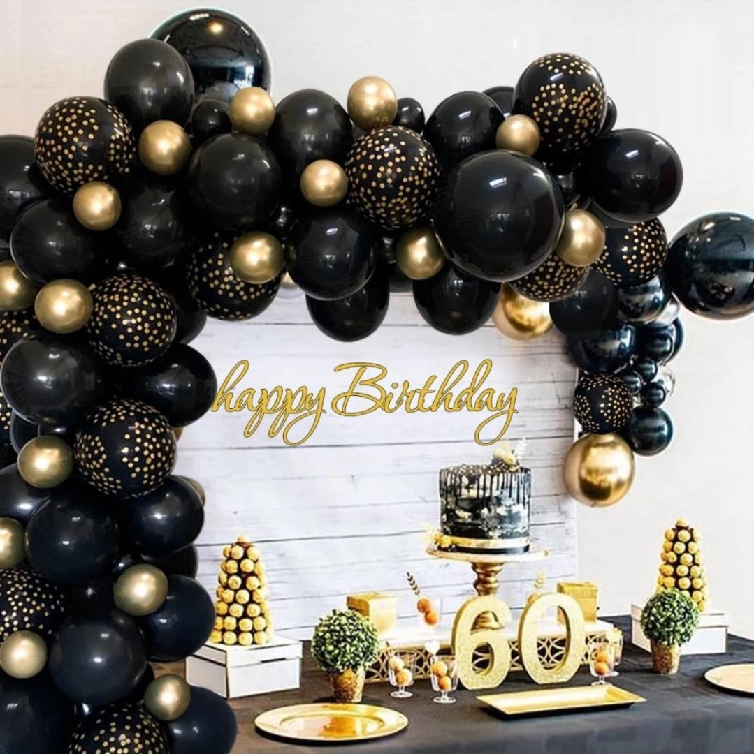 juoda auksine Balionų rinkinys balionų girliandai (juoda, auksinė)