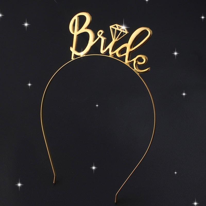 """lankelis bride auksinis Galvos papuošalas """"Bride"""" mergvakariui"""
